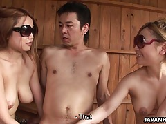 Divine japanese cuties slurp a large prick tubes