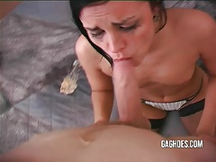 Tiny little slut gets good gagging tubes