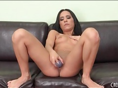 Skinny girl fucks and blows big dildo lustily tubes