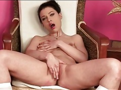 Sultry stripping girl wears pink lipstick tubes