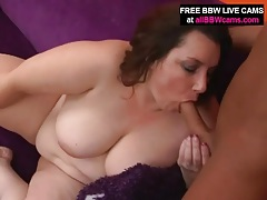 Bbw in pink satin sucks cock with passion tubes
