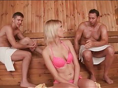 Karina grand sucks and strokes guys in sauna tubes