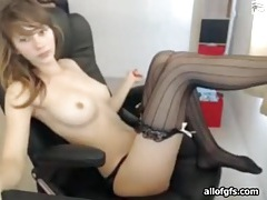 Big tits and striped stockings on hot camgirl tubes