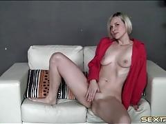 Blonde camgirl in sexy leopard print panties tubes