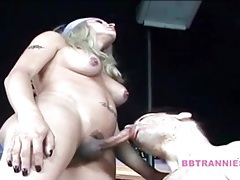 Tall tranny top gets her cock sucked lustily tubes