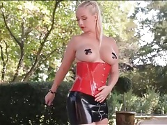 Latex is sexy on kinky girl outdoors tubes