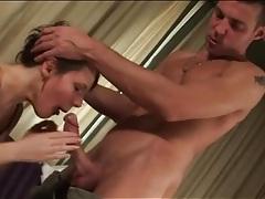 Virgin girl in black lingerie sucks on thick cock tubes
