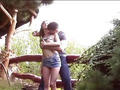 Teen fools around outdoors with horny guy tubes