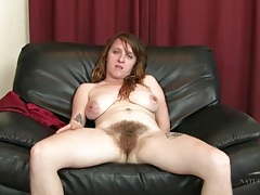 Very hairy legs and pussy on solo milf tubes