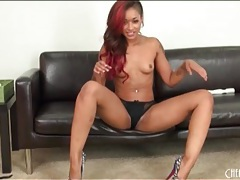 Skin diamond is sexy in lingerie and heels tubes