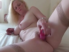 Beautiful body blonde milf fucks pink toy tubes