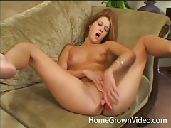 Little tits leggy chick toys her tight pussy tubes