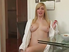 Babe bares her big tits at breakfast tubes