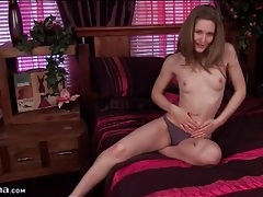 Sweet skinny girl stars in sexy solo striptease tubes