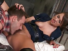 Hairy pussy cop sucks dick in jail cell tubes