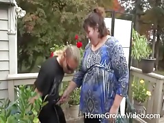 Trashy fat chick blows her husband outdoors tubes