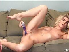 Blonde hottie in pink panties fucks a dildo tubes