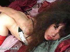 Big hair brunette in red stockings masturbates tubes