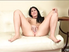Brunette with itty bitty tits masturbates tubes