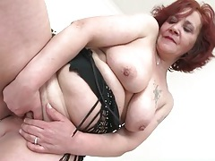 Old lady with red hair masturbates her pussy tubes