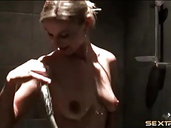 Curvy blonde is cute in solo shower porn tubes
