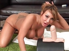 Ava devine sucks on a huge toy tubes