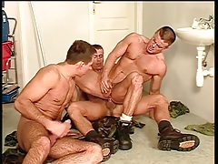 Gay army bottom fucked in the bathroom tubes