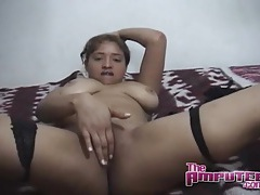 Big boobs girl blows an amputee tubes