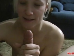 Blonde on her knees jerks off her man tubes