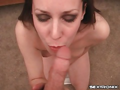 Slutty cocksucker down on her knees blowing him tubes