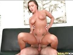 Natural boobs brunette rides hard dick tubes