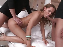 Young lady takes big cocks up her asshole tubes