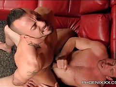 Hot bottom with a beard fucked from behind tubes