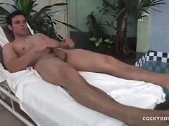 Solo guy showers and plays with his hard cock tubes
