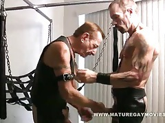 Leather daddies fucking in the sling tubes