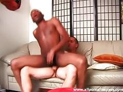 Black ass sits on white cock and it looks hot tubes