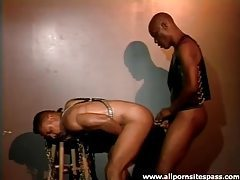 Doggystyle ebony anal sex with cum on back tubes