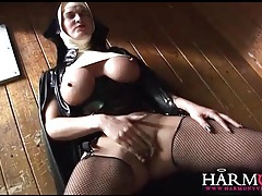 Latex nun sucks big black cock lustily tubes