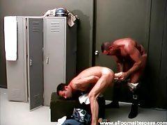 Huge dildo fills ass in locker room scene tubes