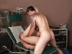 Doctor fingers and fucks the young man tubes