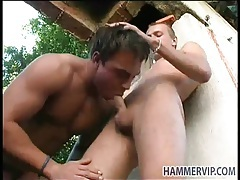 Boys fuck and suck in the rubble outdoors tubes