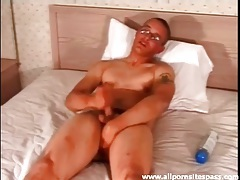 Solo nerd masturbates dick and cums tubes