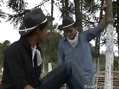 Skinny cocksucking cowboy gives head outdoors tubes