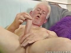 Skinny daddy jerks of his skinny cock tubes