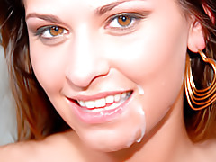 Cumshot on her face tubes