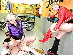 Girls in a bike shop fucked tubes