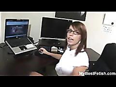 Big tits office babe give footjob tubes