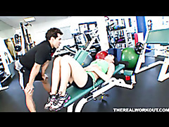 Hot chick melissa lauren gets her pussy licked fingered and fucked hard in the gym tubes