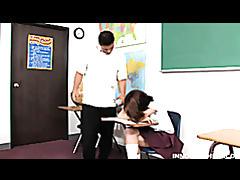 Horny teen with pierced nipples sucks and fucks her teacher in a class tubes