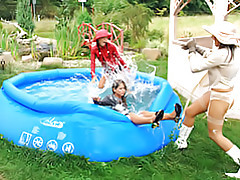 Girls in the pool tubes